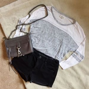 Madewell Grey and White Top